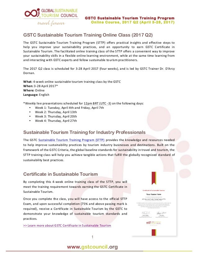 online training class: gstc sustainable tourism training (april 2017)