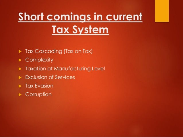 Short comings in current Tax System  Tax Cascading (Tax on Tax)  Complexity  Taxation at Manufacturing Level  Exclusio...
