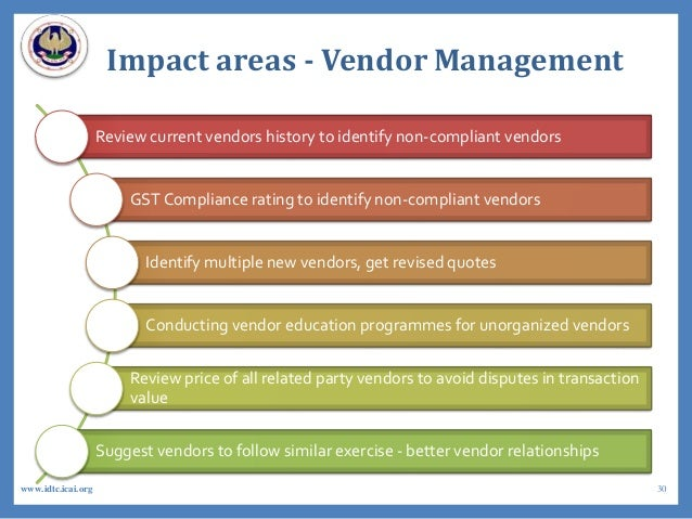 Impact areas - Vendor Management Review current vendors history to identify non-compliant vendors GST Compliance rating to...