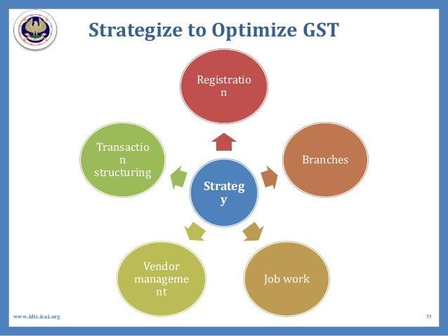 Strategize to Optimize GST Strateg y Registratio n Branches Job work Vendor manageme nt Transactio n structuring 39www.idt...