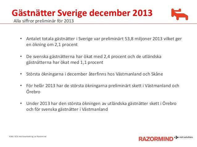Gästnätter Sverige december 2013 Alla siffror preliminär för 2013  • Antalet totala gästnätter i Sverige var preliminärt 5...