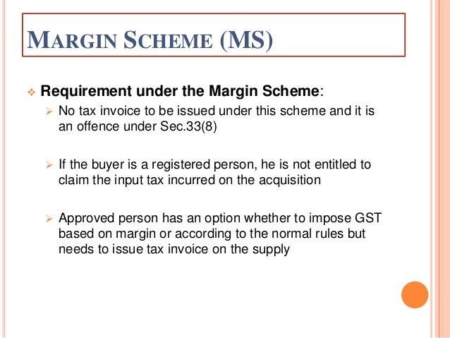 Margin Scheme On Sale Of Property