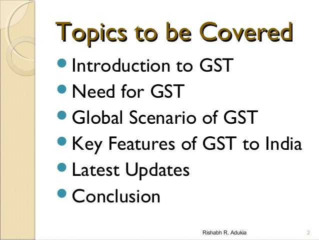 introduction to gst Introduction to gst is the basic level program for goods and services tax (gst) it gives a student basic level knowledge of gst what you will learn.