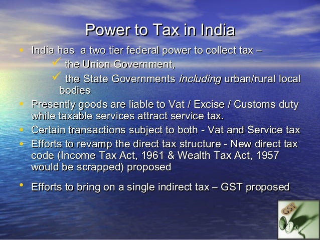 Taxonomy of Indian TaxationTAXATION POWERS OF UNION     Income Tax        –  on income, except                          ag...