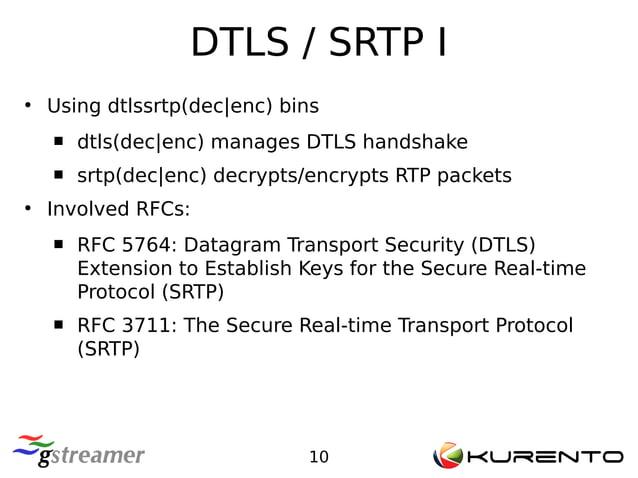 DTLS / SRTP I 10 ● Using dtlssrtp(dec enc) bins  dtls(dec enc) manages DTLS handshake  srtp(dec enc) decrypts/encrypts R...