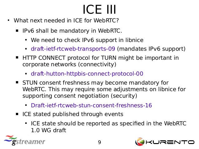 ICE III 9 ● What next needed in ICE for WebRTC?  IPv6 shall be mandatory in WebRTC.  We need to check IPv6 support in li...