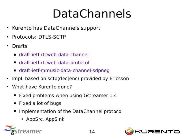 DataChannels 14 ● Kurento has DataChannels support ● Protocols: DTLS-SCTP ● Drafts  draft-ietf-rtcweb-data-channel  draf...