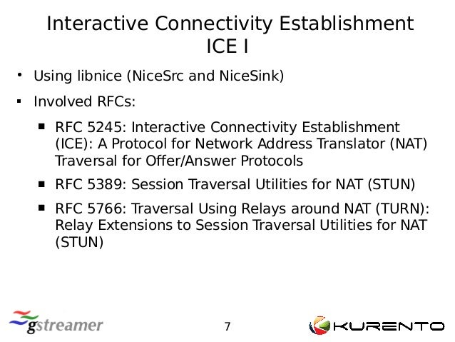 Interactive Connectivity Establishment ICE I 7 ● Using libnice (NiceSrc and NiceSink)  Involved RFCs:  RFC 5245: Interac...