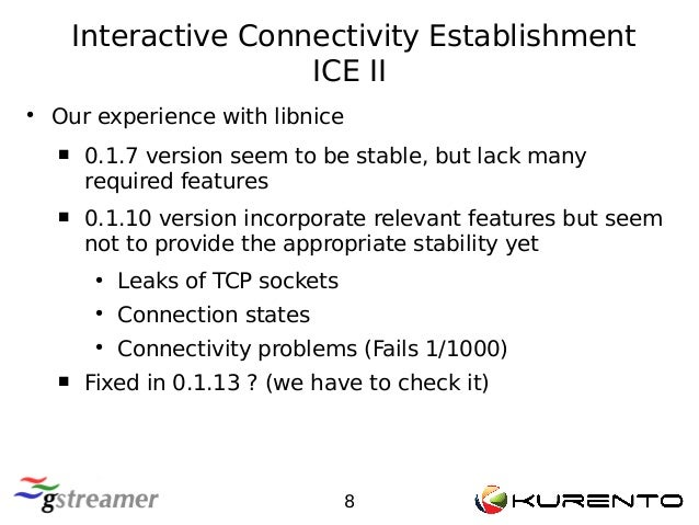 Interactive Connectivity Establishment ICE II 8 ● Our experience with libnice  0.1.7 version seem to be stable, but lack ...