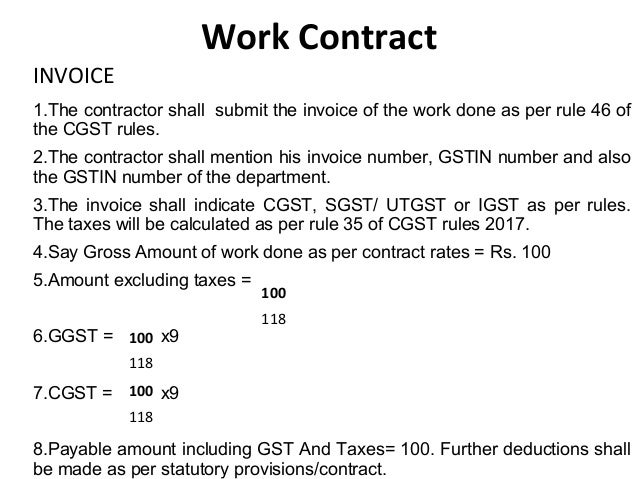 Gst On Works Contract