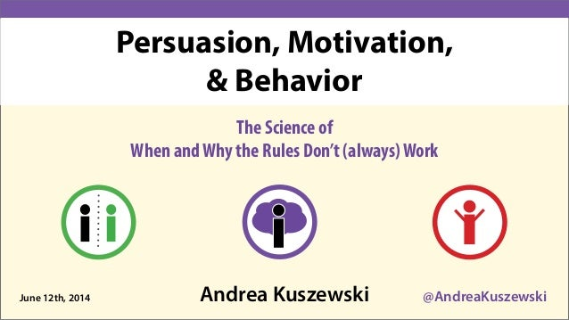Andrea Kuszewski @AndreaKuszewski The Science of When andWhy the Rules Don't (always)Work June 12th, 2014 Persuasion, Moti...