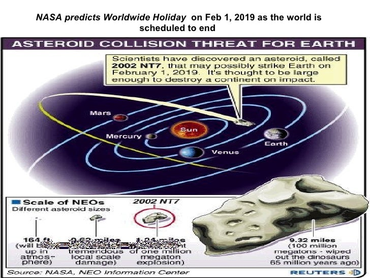 NASA predicts Worldwide Holiday  on Feb 1, 2019 as the world is scheduled to end