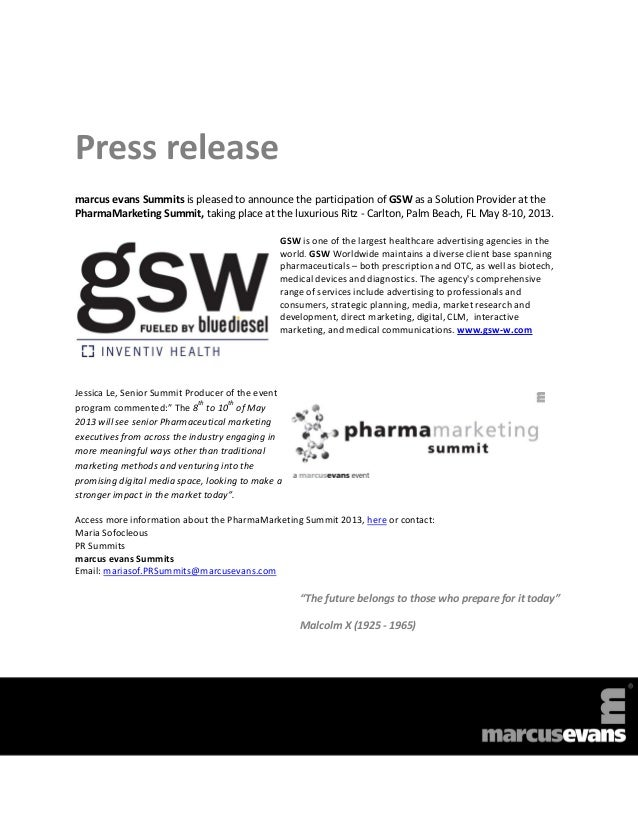 Press releasemarcus evans Summits is pleased to announce the participation of GSW as a Solution Provider at thePharmaMarke...