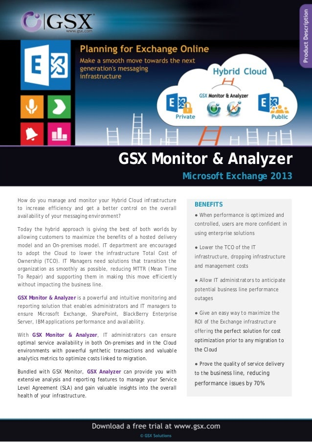 GSX Monitor & Analyzer  Microsoft Exchange 2013  How do you manage and monitor your Hybrid Cloud infrastructure to increas...