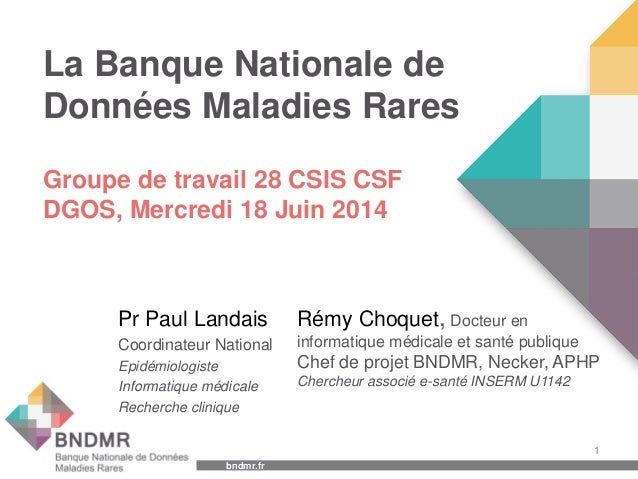 bndmr.fr bndmr.fr La Banque Nationale de Données Maladies Rares Pr Paul Landais Coordinateur National Epidémiologiste Info...