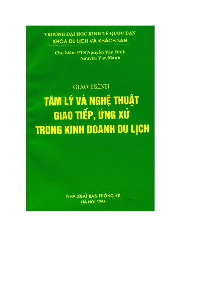 TÂM LÝ VÀ NGHỆ THUẬT GIAO TIẾP, ỨNG XỬ TRONG KINH DOANH DU LỊCH