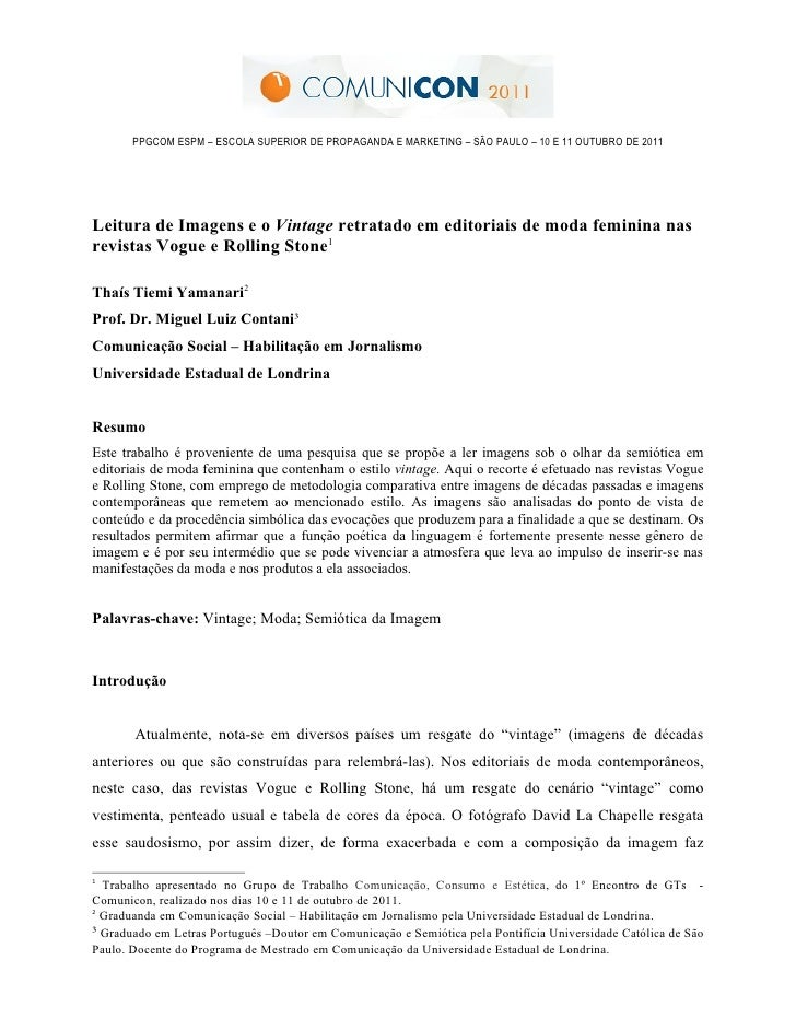 PPGCOM ESPM – ESCOLA SUPERIOR DE PROPAGANDA E MARKETING – SÃO PAULO – 10 E 11 OUTUBRO DE 2011Leitura de Imagens e o Vintag...