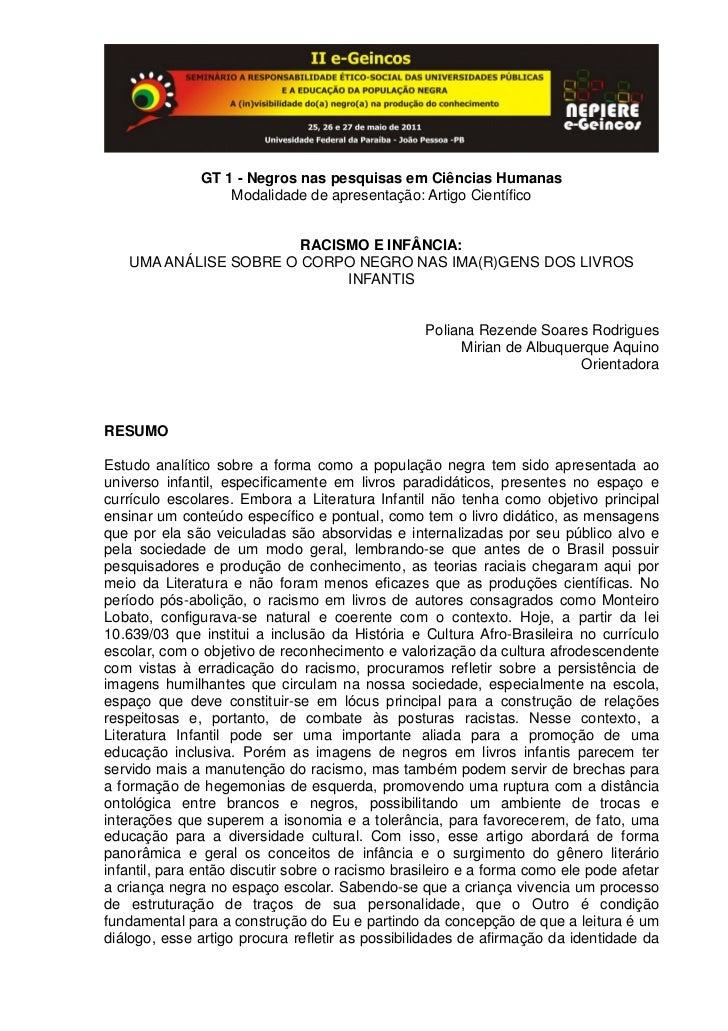 GT 1 - Negros nas pesquisas em Ciências Humanas                   Modalidade de apresentação: Artigo Científico           ...
