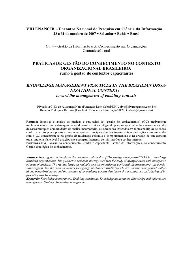 VIII ENANCIB – Encontro Nacional de Pesquisa em Ciência da Informação 28 a 31 de outubro de 2007 • Salvador • Bahia • Bras...