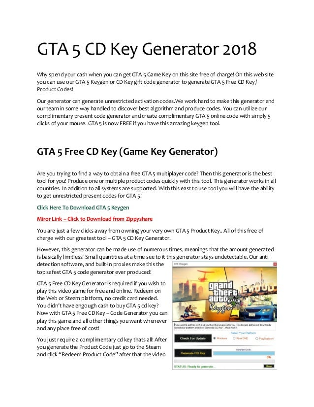 GTA 5 CD Key Generator (Keygen) 2018