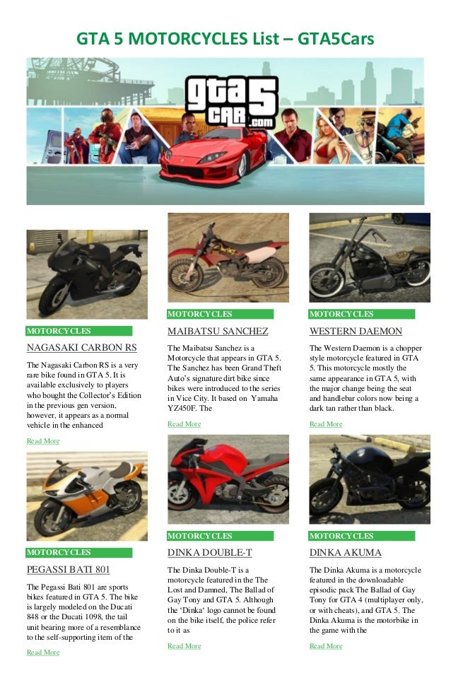 GTA 5 Motorcycles List
