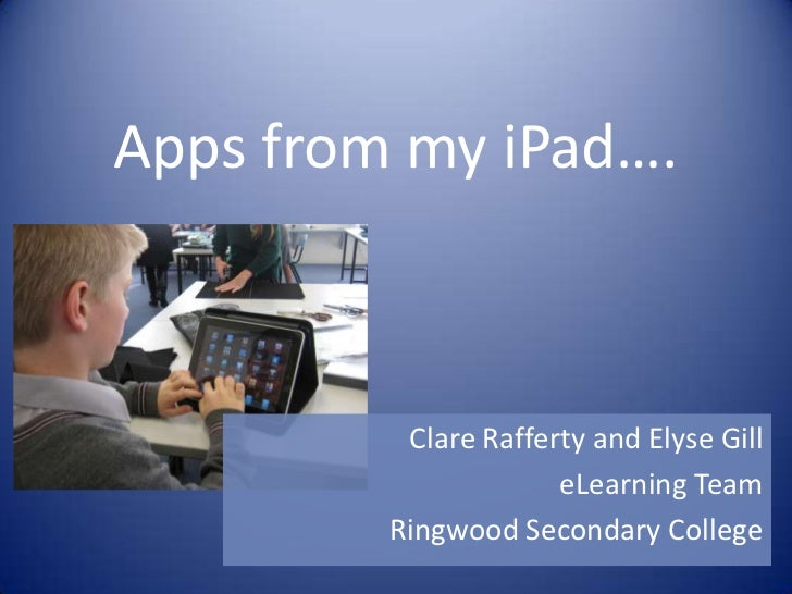 Apps from my iPad….          Clare Rafferty and Elyse Gill                      eLearning Team         Ringwood Secondary ...