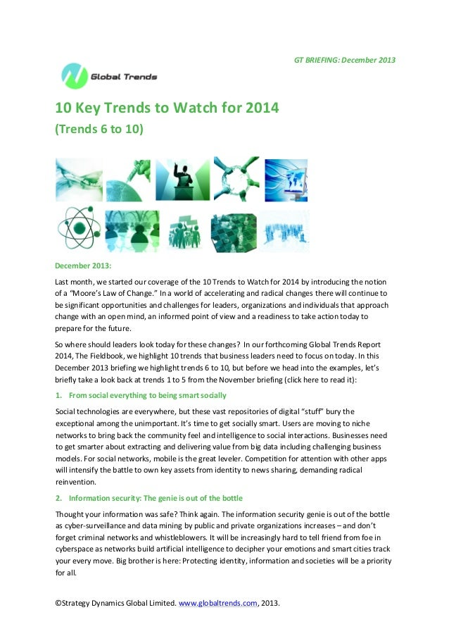 GT  BRIEFING:  December  2013           10  Key  Trends  to  Watch  for  2014   (Trends...