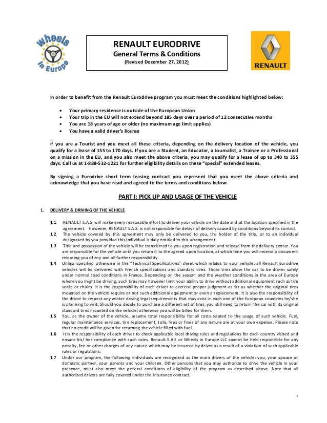 RENAULT EURODRIVE                                      General Terms & Conditions                                         ...