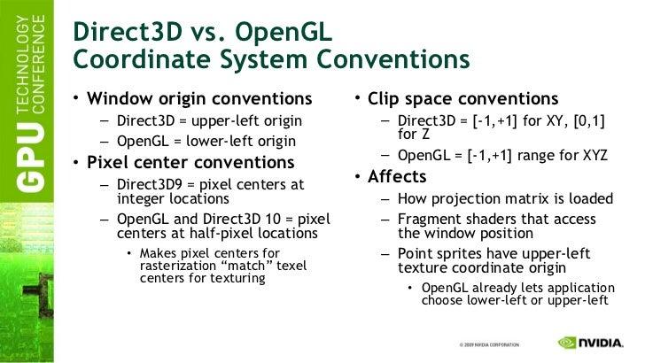 Direct3D vs. OpenGL Coordinate System Conventions <ul><li>Window origin conventions </li></ul><ul><ul><li>Direct3D = upper...