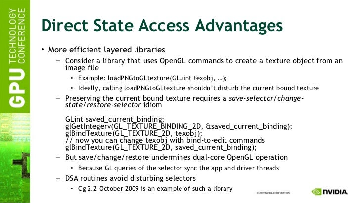 Direct State Access Advantages <ul><li>More efficient layered libraries </li></ul><ul><ul><li>Consider a library that uses...