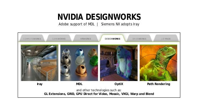 5 NVIDIA DESIGNWORKS Adobe support of MDL | Siemens NX adopts Iray COMPUTEWORKS MDL OptiX Path Rendering and other technol...