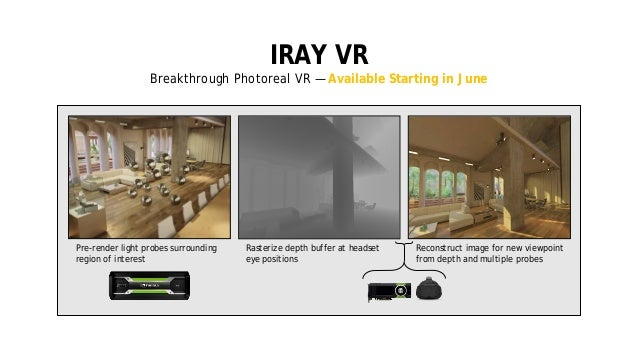 13 IRAY VR Breakthrough Photoreal VR — Available Starting in June Rasterize depth buffer at headset eye positions Reconstr...