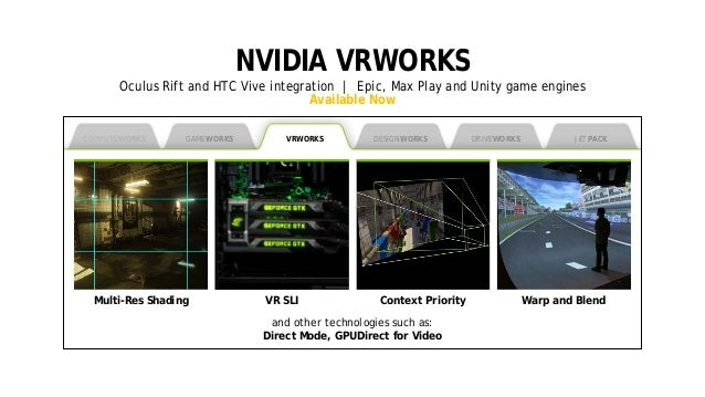 6 NVIDIA VRWORKS Oculus Rift and HTC Vive integration | Epic, Max Play and Unity game engines Available Now COMPUTEWORKS V...