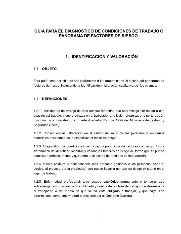 GUIA PARA ÉL DIAGNOSTICO DE CONDICIONES DE TRABAJO O          PANORAMA DE FACTORES DE RIESGO                      1. IDENT...