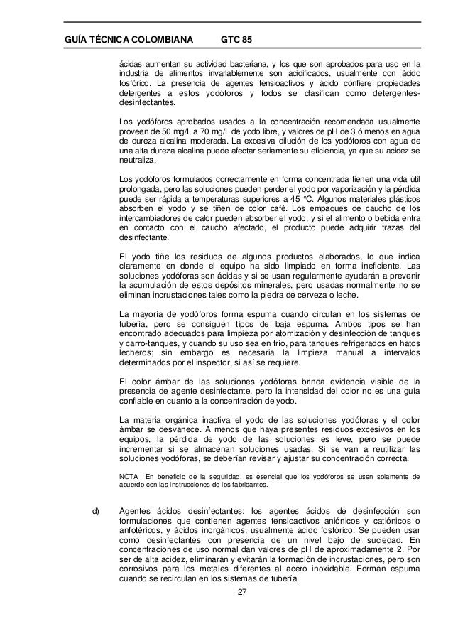 Gtc85 for Programa de limpieza y desinfeccion en industria alimentaria
