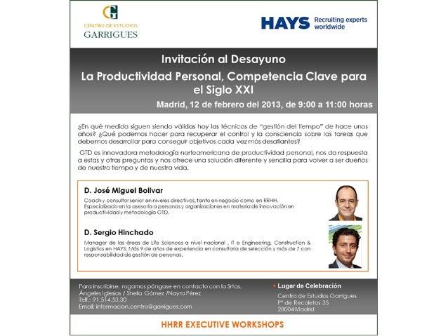 PRODUCTIVIDAD   PERSONALCOMPETENCIA CLAVE PARA EL SIGLO XXI     #hays_ceg