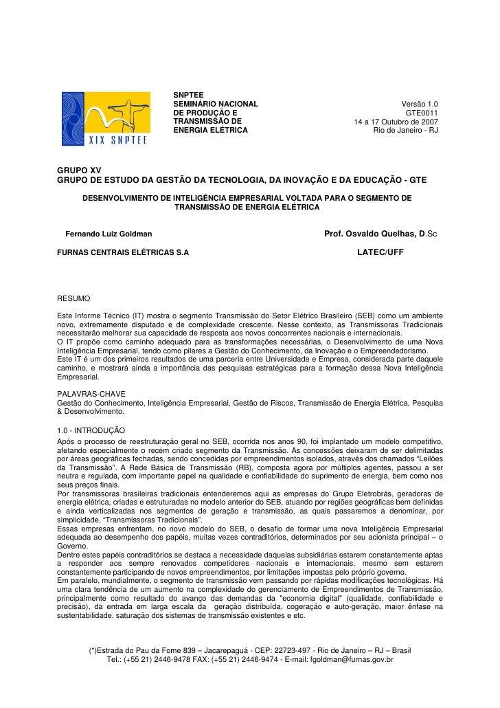 SNPTEE                                  SEMINÁRIO NACIONAL                                                Versão 1.0      ...