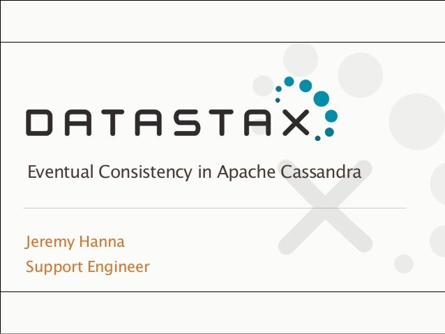 ©2013 DataStax Confidential. Do not distribute without consent. Jeremy Hanna Support Engineer Eventual Consistency in Apach...