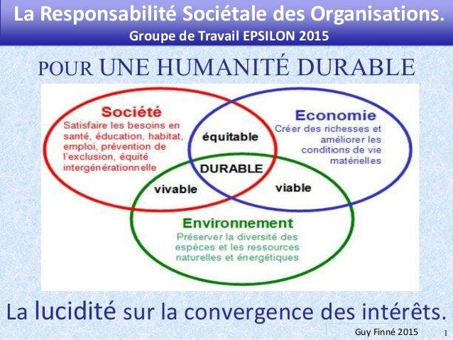 La lucidité sur la convergence des intérêts. 1 POUR UNE HUMANITÉ DURABLE La Responsabilité Sociétale des Organisations. Gr...