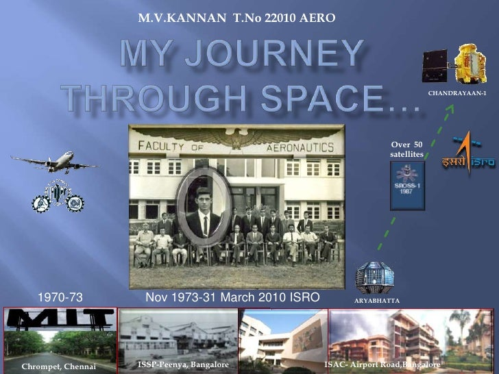 M.V.KANNAN  T.No 22010 AERO<br />My JOURNEY THROUGH SPACE…<br />CHANDRAYAAN-1<br />Over  50 satellites<br />1970-73<br />N...