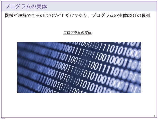 9 © KAZUKI SAITO 機械が理解できるのは 0 か 1 だけであり、プログラムの実体は01の羅列 プログラムの実体 プログラムの実体
