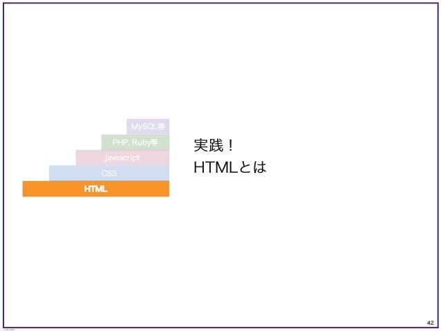 42 © KAZUKI SAITO 実践! HTMLとは PHP, Ruby等 MySQL等 CSS javascript HTML