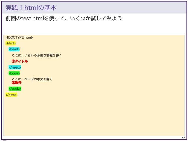 44 © KAZUKI SAITO 前回のtest.htmlを使って、いくつか試してみよう 実践!htmlの基本 <!DOCTYPE html> <html> <head> ここに、いろいろ必要な情報を書く ①タイトル </head> <bod...