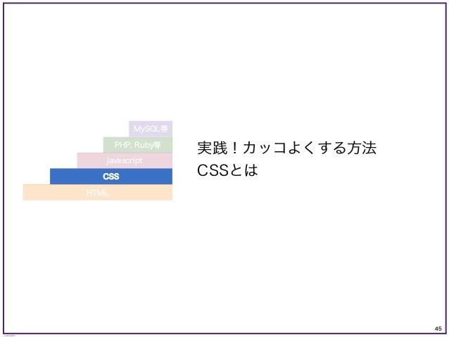 45 © KAZUKI SAITO 実践!カッコよくする方法 CSSとは PHP, Ruby等 MySQL等 CSS javascript HTML
