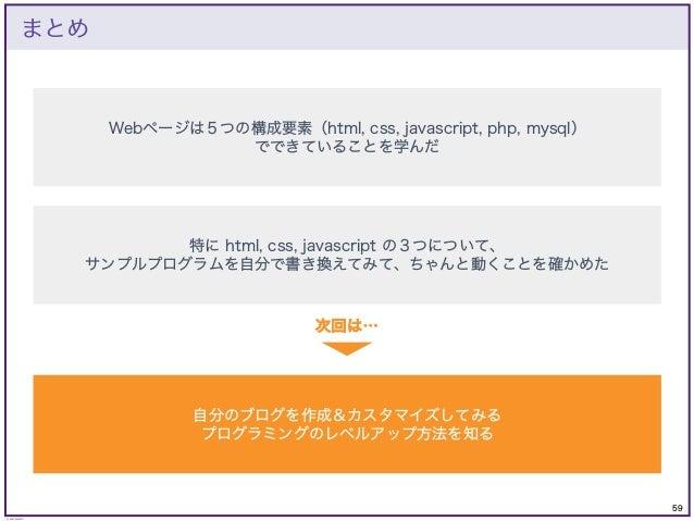 59 © KAZUKI SAITO まとめ Webページは5つの構成要素(html, css, javascript, php, mysql) でできていることを学んだ 特に html, css, javascript の3つについて、 サンプ...