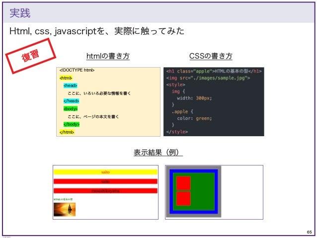 65 © KAZUKI SAITO Html, css, javascriptを、実際に触ってみた 実践 復習 htmlの書き方 <!DOCTYPE html> <html> <head> ここに、いろいろ必要な情報を書く </head> <b...