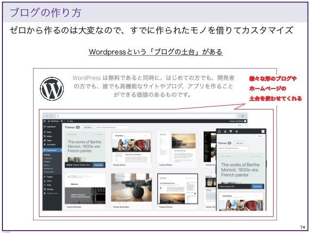 74 © KAZUKI SAITO ゼロから作るのは大変なので、すでに作られたモノを借りてカスタマイズ ブログの作り方 Wordpressという「ブログの土台」がある 様々な形のブログや ホームページの 土台を使わせてくれる