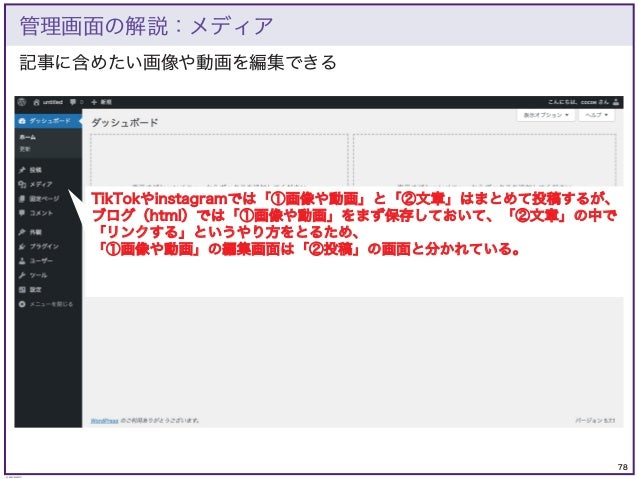 78 © KAZUKI SAITO 記事に含めたい画像や動画を編集できる 管理画面の解説:メディア TikTokやinstagramでは「①画像や動画」と「②文章」はまとめて投稿するが、 ブログ(html)では「①画像や動画」をまず保存しておい...