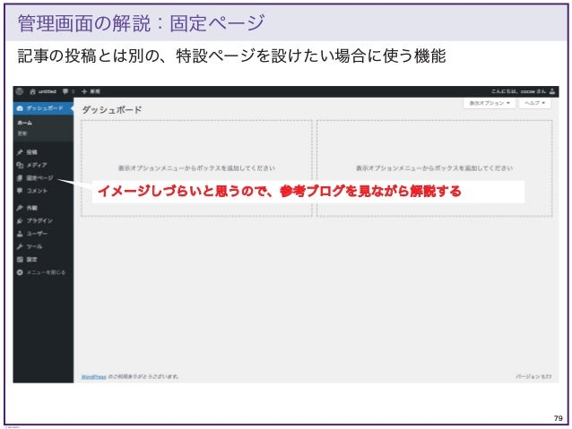 79 © KAZUKI SAITO 記事の投稿とは別の、特設ページを設けたい場合に使う機能 管理画面の解説:固定ページ イメージしづらいと思うので、参考ブログを見ながら解説する