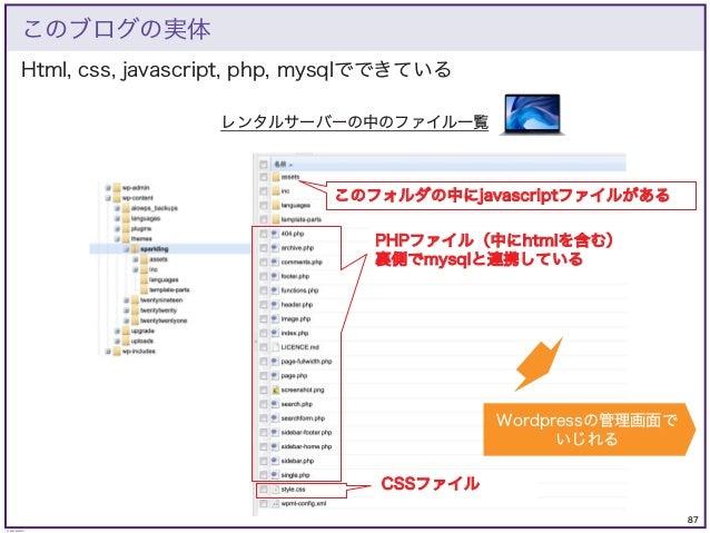87 © KAZUKI SAITO Html, css, javascript, php, mysqlでできている このブログの実体 レンタルサーバーの中のファイル一覧 PHPファイル(中にhtmlを含む) 裏側でmysqlと連携している CS...